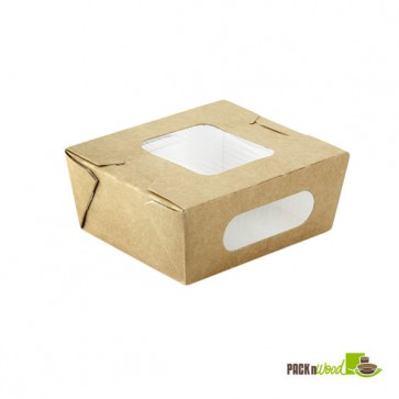 Kraft Paper Salad Box with 2 Windows - 24oz