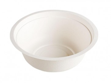 12 oz. Biodegradable Stalk Market Sugarcane Bagasse Bowl, Compostable, Natural White