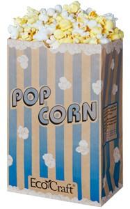 85 Oz Natural Theater Popcorn Bag Blue Stripe Ecofriendly