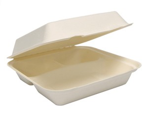 "9"" 3-Compartment Solo Bare Sugarcane Biodegradable Take Out Container Hinged Clamshell, Compostable, Ivory"