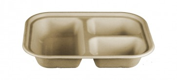 Compostable Wheatstraw 3-Compartment Tray