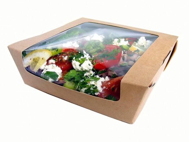 Medium Kraft Salad Box With Clear Window Ecofriendly