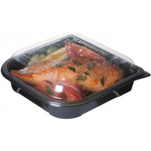 "7"" Black Take Out Containers 100% Recycled PET Plastic w/ Clear Tops, (EP-PTOR7), Recyclable, 150/cs"
