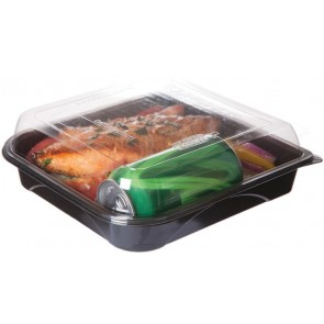 "9"" Black Take Out Containers 100% Recycled PET Plastic w/ Clear Tops, (EP-PTOR9), Recyclable, 150/cs"