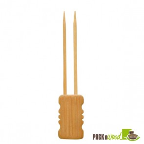 Double Prong Bamboo Skewer with Block End - 5.91 in.