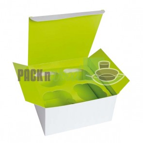 Cupcake Box - 3 compartment - Green Inserts Included