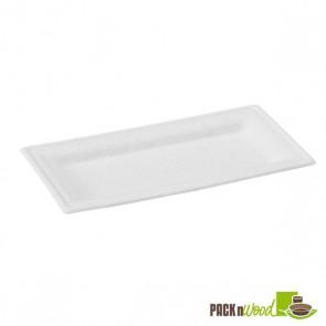 Rectangular White Sugarcane Plate - 10.2 x 5.1 in.