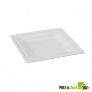 Square White Sugarcane Plate - 10.2 in.