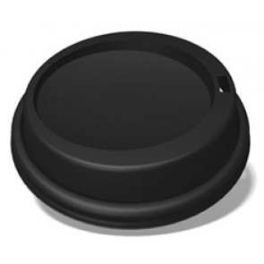 Ecotainer 8 oz. PET Dome Lids for Biodegradable Hot Cups / Coffee Cups, Non-Compostable, Black