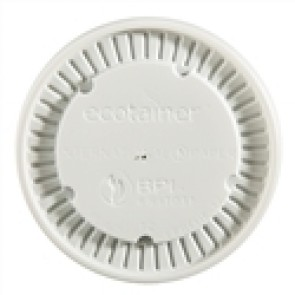 Ecotainer 12 oz. Flat Lids for Biodegradable Soup Cups / Food Containers, Compostable, White