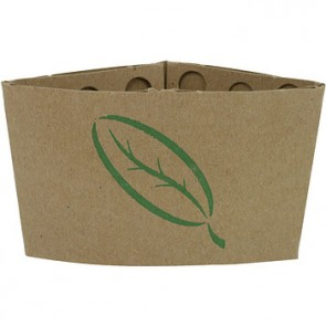 Ecotainer 100% Recycled Kraft Coffee Sleeve w/ Leaf Print, Compostable, Natural Kraft