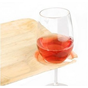 "9"" Square Disposable Bamboo Wine Plates"