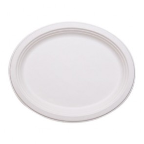 "12"" Jumbo Oval Biodegradable Plates / Platters Sugarcane, Compostable, Natural White"