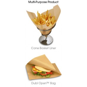 "9"" x 10"" Natural Kraft Double Open Sandwich Bag / Cone Basket Liner"
