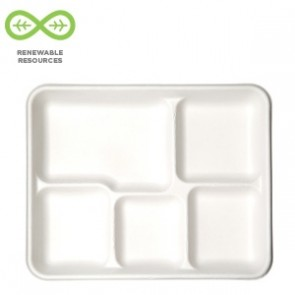 Renewable & Compostable 5-Compartment Sugarcane Food Tray