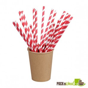 Unwrapped Red Striped Paper Straws - 8.3 in.