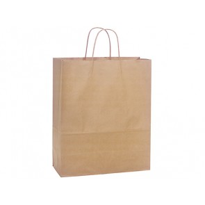 "100% Recycled Paper Shopping Bags, 13"" x 7"" x 17"""