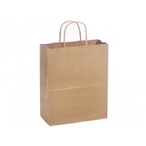 "100% Recycled Paper Shopping Bags, 8"" x 4.75"" x 10.25"""