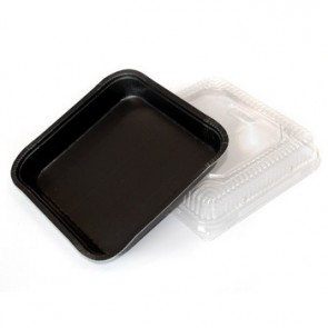 "Black 8"" x 8"" X 1.25"" SBS Sheet Baking Trays"