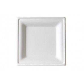 "6"" Premium Sugarcane Biodegradable Square Plates, (EP-P021), Compostable, Case of 500"