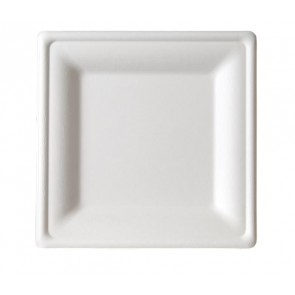 "8"" Premium Sugarcane Biodegradable Square Plates, (EP-P022), Compostable, Case of 500"