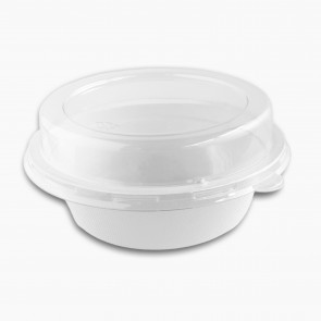 Clear recyclable PET Lid for 16oz sugarcane/bagasse bowl