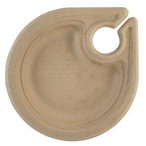 "7"" Compostable Wheat Straw Plate with Drink Holder"