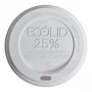 16 oz. EcoProducts Recycled Content Hot Cup Lid, (EP-HL8-W), Compostable, White, Case of 1000