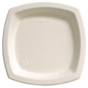 """6 3/4"""" Square Solo Bare Bagasse Sugarcane Paper Plates, (6PSC-2050 ), Tree Free, Biodegradable Compostable, Natural White, Case of 1000"""
