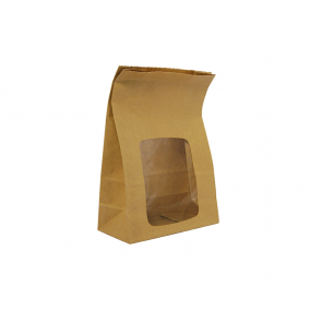 "6 x 3 x 9"" Kraft NatureFlex Window Lined Bloomer Bag"
