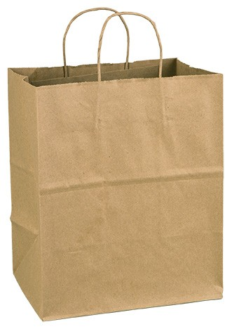 "100% Recycled Paper Shopping Bags, 10"" x 7"" x 12"""