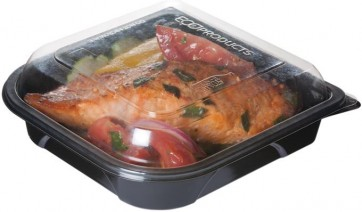 """7"""" Black Take Out Containers 100% Recycled PET Plastic w/ Clear Tops, (EP-PTOR7), Recyclable, 150/cs"""