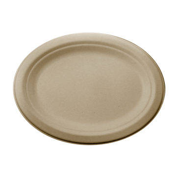 12 inch Compostable Oval Plant Fiber Plate