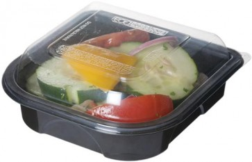"""6"""" Black Take Out Containers 100% Recycled PET Plastic w/ Clear Tops, (EP-PTOR6), Recyclable, 150/cs"""