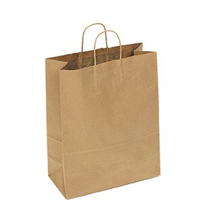 "100% Recycled Paper Shopping Bags, 13"" x 6"" x 16"""