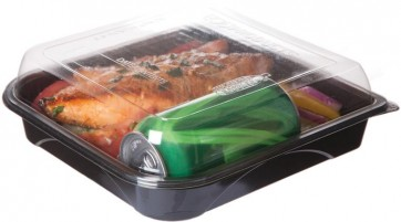 """9"""" Black Take Out Containers 100% Recycled PET Plastic w/ Clear Tops, (EP-PTOR9), Recyclable, 150/cs"""