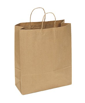 "100% Recycled Paper Shopping Bags, 16"" x 6"" x 19"""
