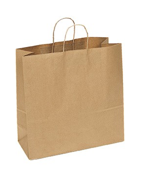 "100% Recycled Paper Shopping Bags, 18"" x 7"" x 18"""