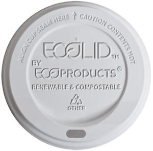 8 oz. EcoProducts Compostable Hot Cup Dome Lids, (EP-ECOLID-8), White, Case of 1000