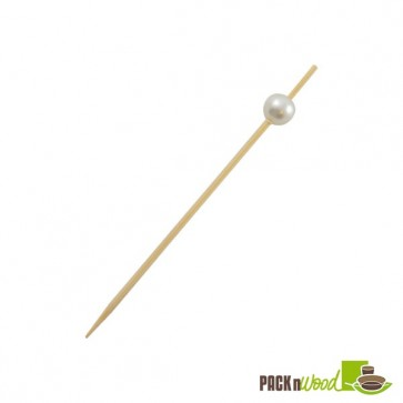 """BIJOU"" Bamboo Pick with While Pearl - 3.5 in."
