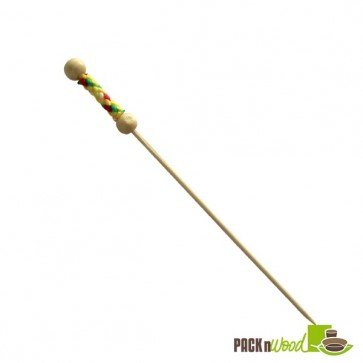 Bamboo Pick with Natural Beads and Yellow Design - 4.4 in.