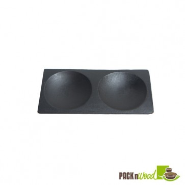 "Mini Black Bamboo Plate 2 Compartments - 4.7"" x 2.4"""