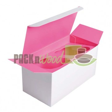 Cupcake Box - 2 compartment - Pink Inserts Included