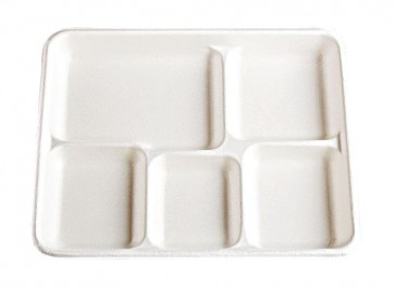 "8.5"" x 10.5"" 5-Compartment Biodegradable Lunch Trays Stalk Market, Sugarcane, Compostable, Natural White"