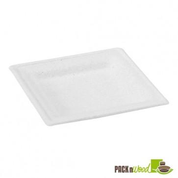 Square White Sugarcane Plate - 6.2 in