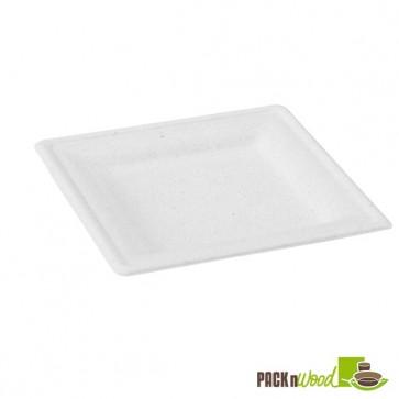 Square White Sugarcane Plate - 7.8 in.