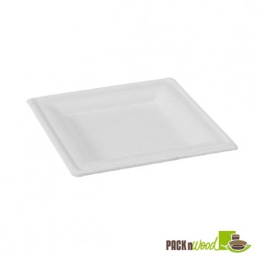 Square White Sugarcane Plate - 10.2 in.