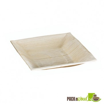 Palm Leaf Plate with Square Corners & Slanted Edges - 6.5 x 1.18 in.