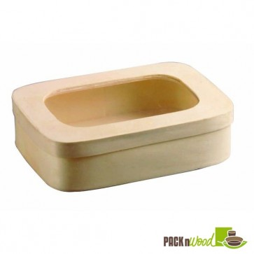 Wooden Rectangular Box with Window Lid - 7.09 x 5.04 x 1.97 in.
