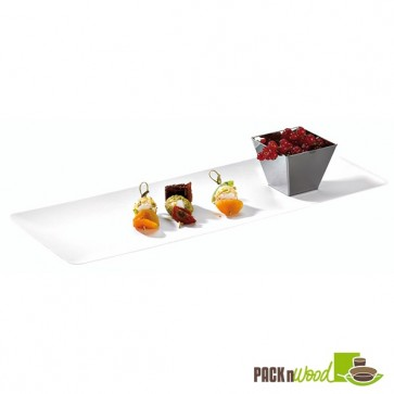 Recyclable Clear Lid for Bio 'n' Chic - Rectangular Sugarcane Tray - 15.35 x 5.91 in.